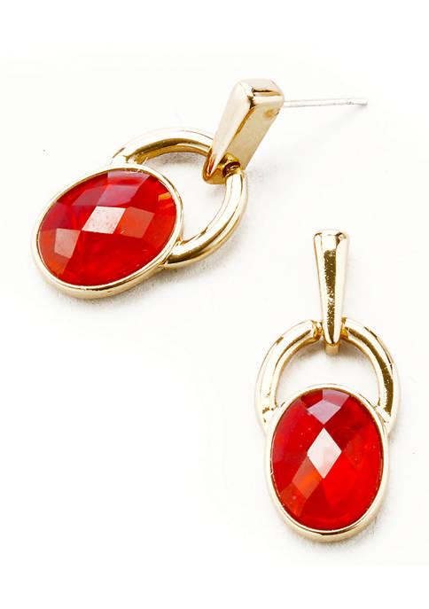 Kim Rogers® Gold Tone Red Doorknocker Post Earrings