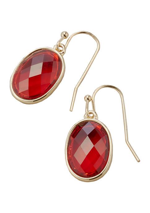 Kim Rogers® Gold Tone Red Drop Earrings