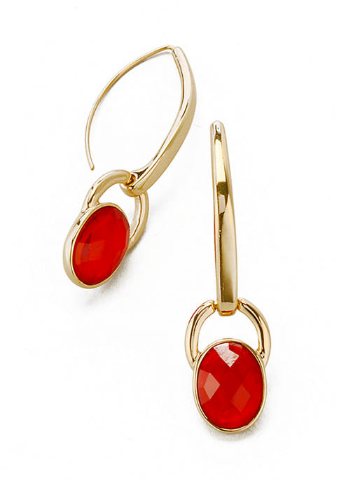 Gold Tone Red Linear Threader Earrings
