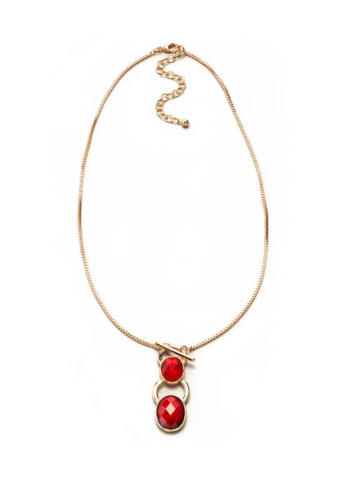 Kim Rogers® 16 Inch Gold Tone Red Pendant