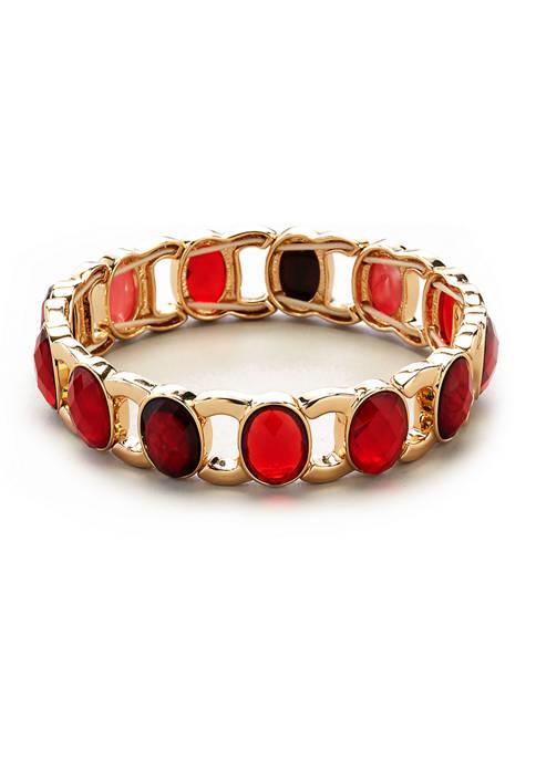 Kim Rogers® Gold Tone Red Stone Stretch Bracelet