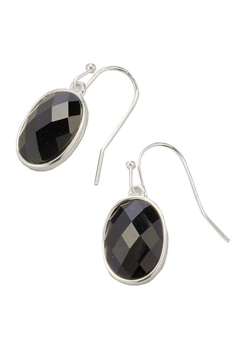 Kim Rogers® Silver Tone Jet Drop Earrings