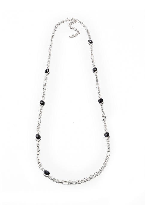 36 Inch Silver Tone Jet Long Strandage Necklace