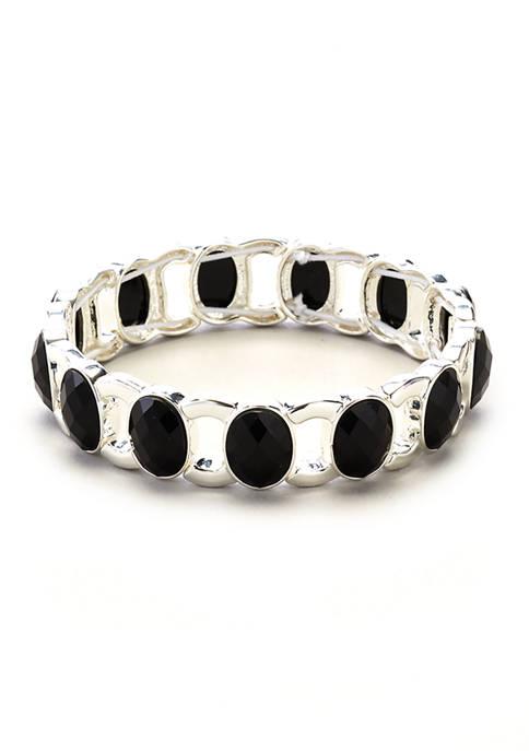 Kim Rogers® Silver Tone Jet Stone Stretch Bracelet
