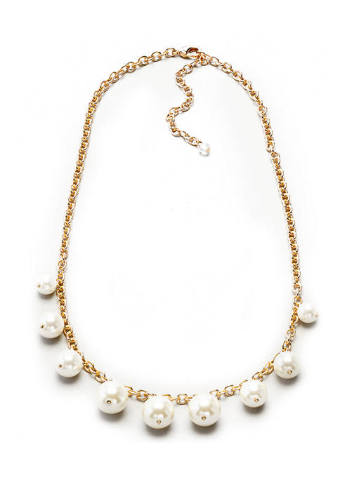 16 Inch Gold Tone White Pearl Frontal with Links Necklace