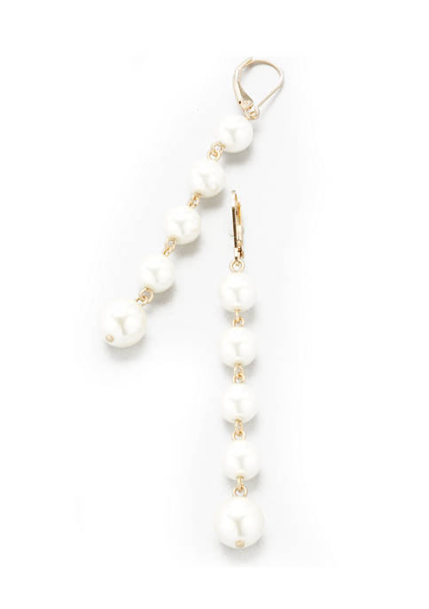 Gold Tone White Pearl Lever Back Linear Earrings