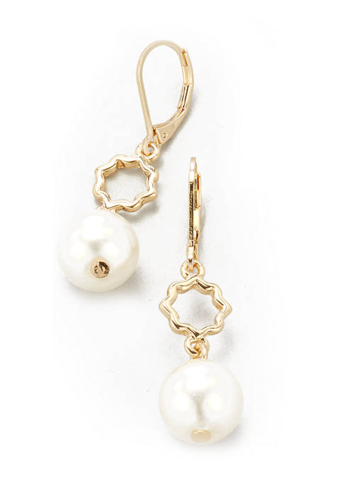 Kim Rogers® Gold Tone Pearl Lever Back Double