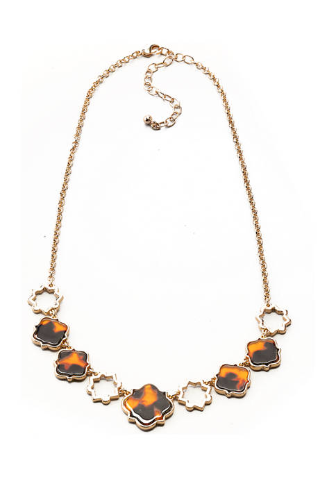 16 Inch Gold Tone Tortoise Station Frontal Necklace