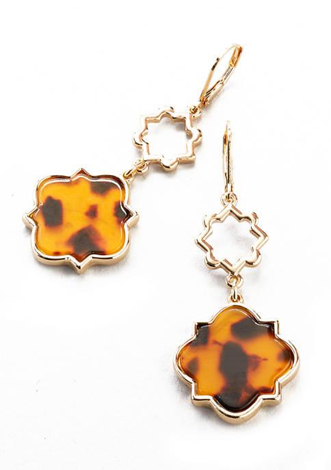 Gold Tone Tortoise Lever Back Double Drop Earrings