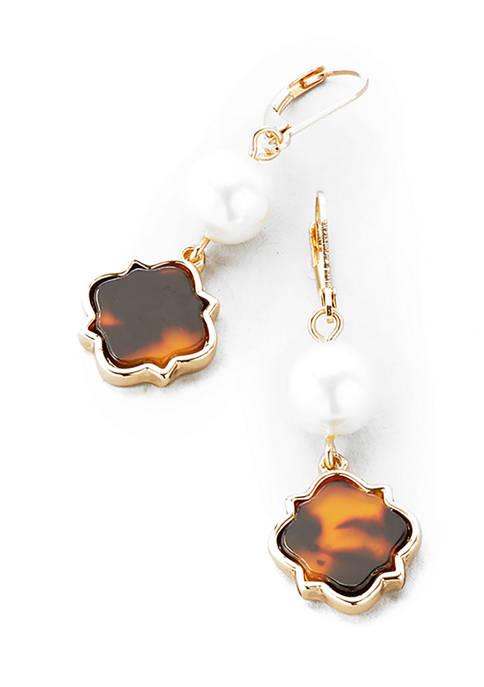 Gold Tone Tortoise Lever Back Bead Double Drop Earrings