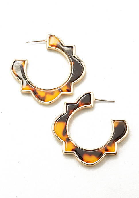 Kim Rogers® Gold Tone Tortoise C Hoop Earrings