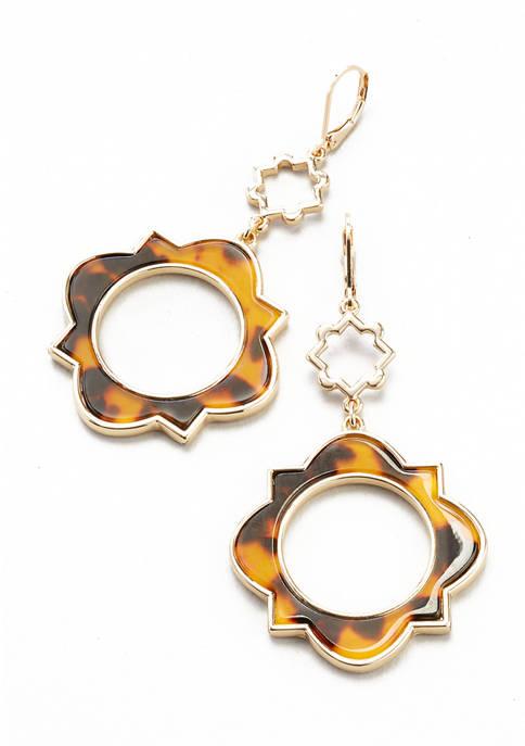 Gold Tone Tortoise Lever Back Open Double Drop Earrings