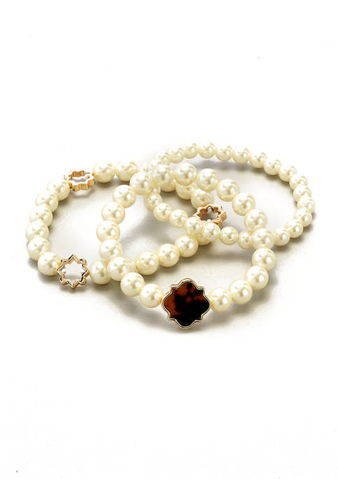 Kim Rogers® Gold Tone Pearl and Tortoise Stretch
