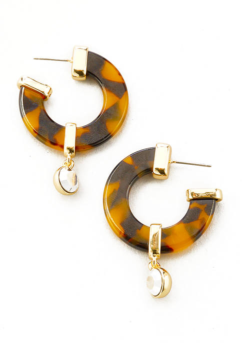 Gold Tone Tortoise C Hoop Post with Stone Drop Earrings