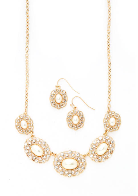 2 Piece 16 Inch Pearl Frontal Drop Necklace and Earring Set