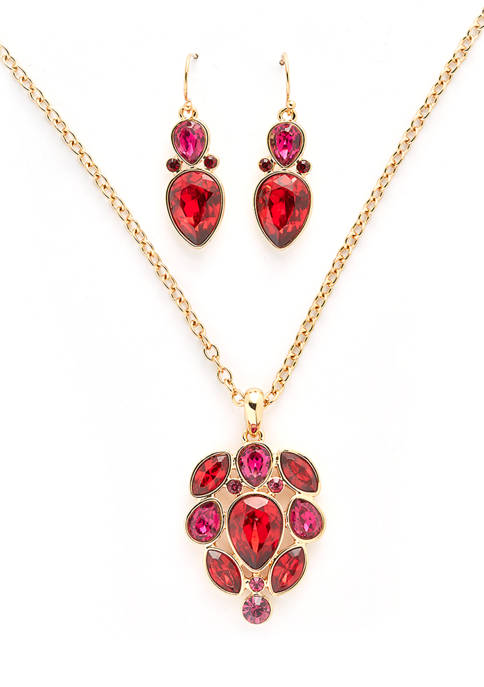 Kim Rogers® Boxed Gold-Tone Red Drama Pendant Necklace