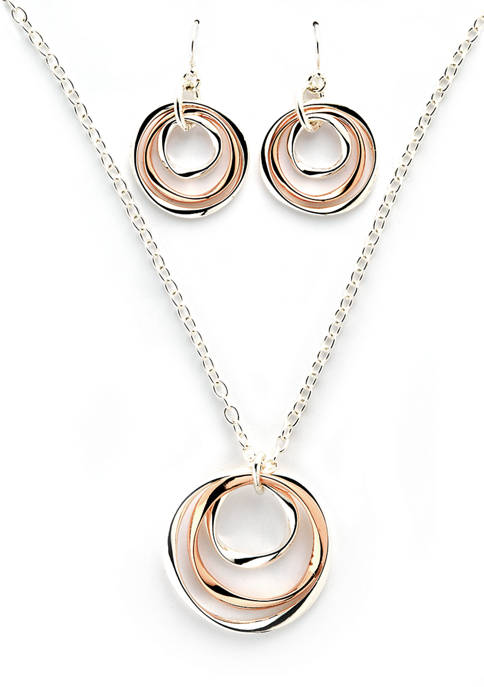 Boxed Two Tone Twist Pendant and Drop Earrings Set