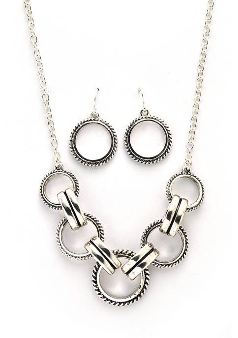 Boxed Open Rings Frontal Necklace and Drop Earring Set