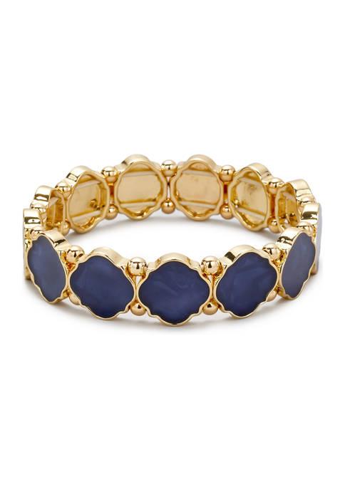 Belk Gold Tone Navy Quatrefoil Motif Stretch Bracelet
