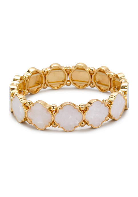 Belk Gold Tone White Quatrefoil Motif Stretch Bracelet
