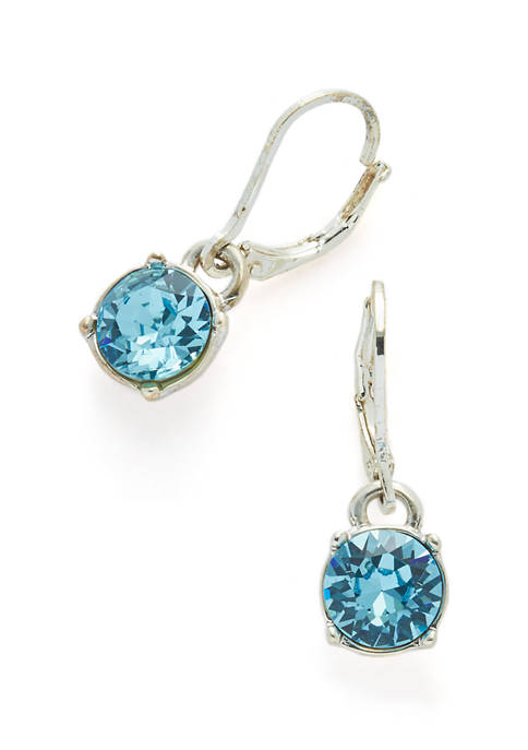Kim Rogers® Swarovski® Aqua Silver-Tone Drop Earrings