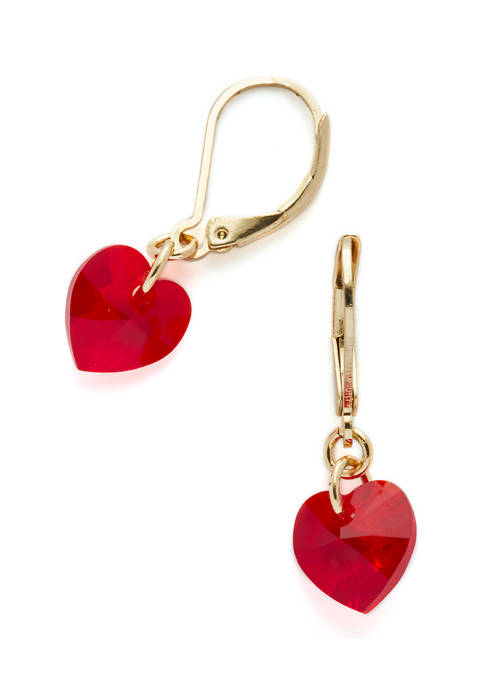 Swarovski® Siam Heart Gold-Tone Drop Earrings