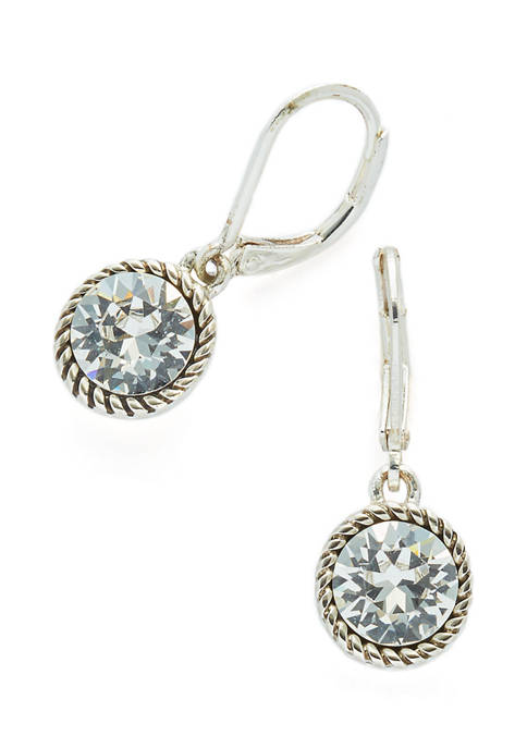 Swarovski® Crystal Silver-Tone Drop Earrings
