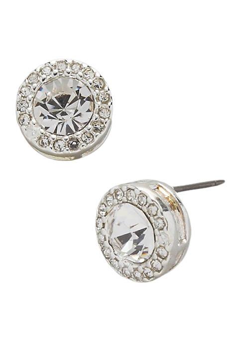 Kim Rogers® Silver Tone Crystal Halo Stud Earrings