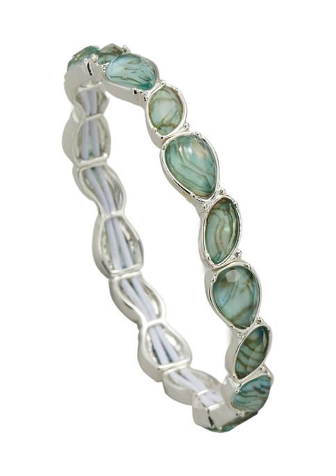 Kim Rogers® Silver Tone Abalone Blue Stretch Bracelet