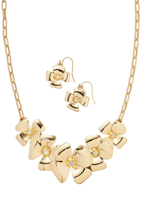 Kim Rogers® Gold Tone Crystal Metal Flowers Necklace