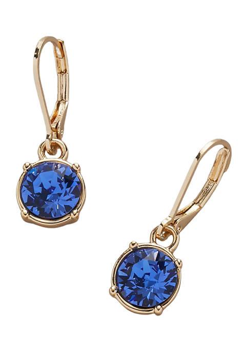Kim Rogers® Gold Tone Sapphire Color Swarovski® Drop