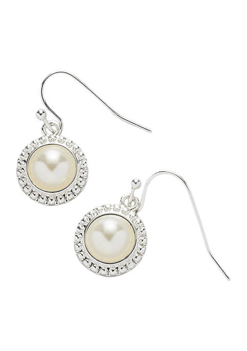Kim Rogers® Silver Tone Blanc Pearl French Wire