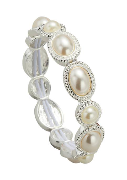 Kim Rogers® Silver Tone Blanc Pearl Stretch Bracelet