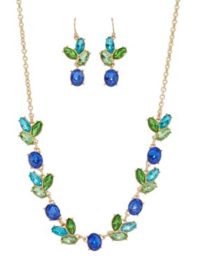 Kim Rogers Women Gold Tone Blue Multi Stone Frontal With Multi Drop Necklace And Earrings Set
