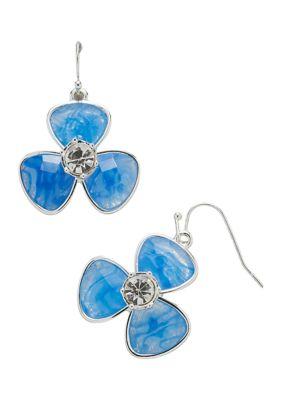 Kim Rogers Women Silver Tone Blue Fishhook Flower Drop Earrings