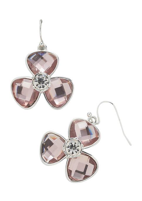 Kim Rogers® Silver Tone Pink Fishhook Flower Drop
