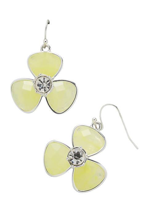 Kim Rogers® Silver Tone Yellow Fishhook Flower Drop