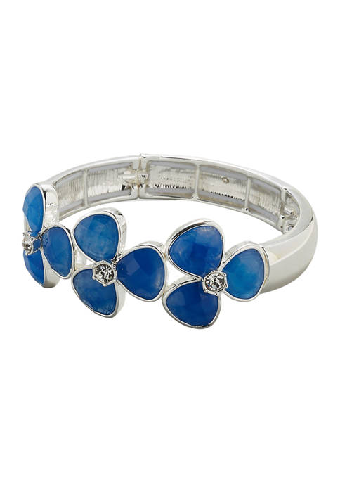 Kim Rogers® Silver Tone Blue Stone Flower Stretch