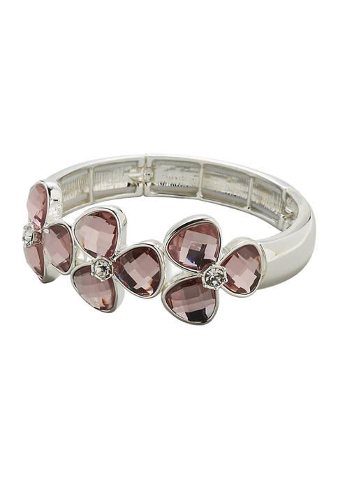 Kim Rogers® Silver Tone Pink Stone Flower Stretch
