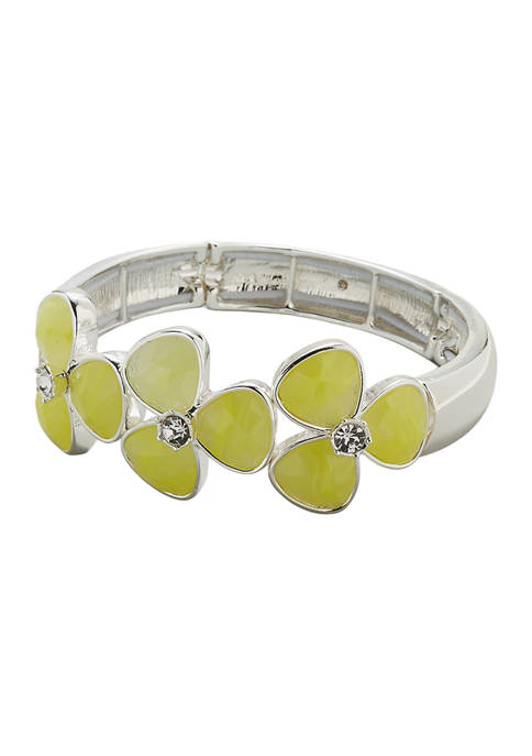 Kim Rogers® Silver Tone Yellow Stone Flower Stretch