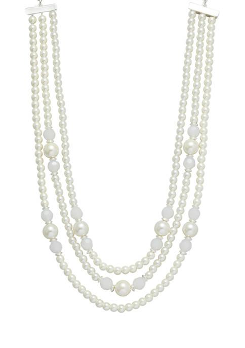 Kim Rogers® Silver Tone Pearl 16 Inch Multi