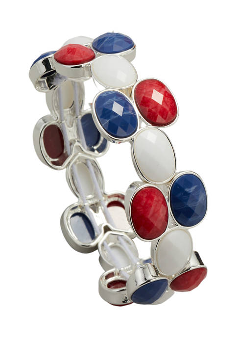 Kim Rogers® Silver Tone Red White Blue Oval