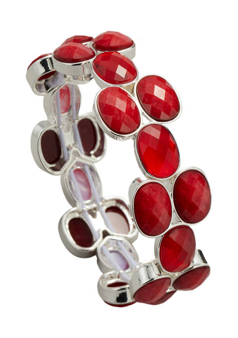 Kim Rogers® Silver Tone Red Oval Stone Stretch