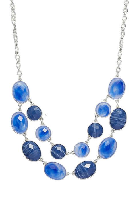 Kim Rogers® Silver Tone Blue 16 Inch Oval