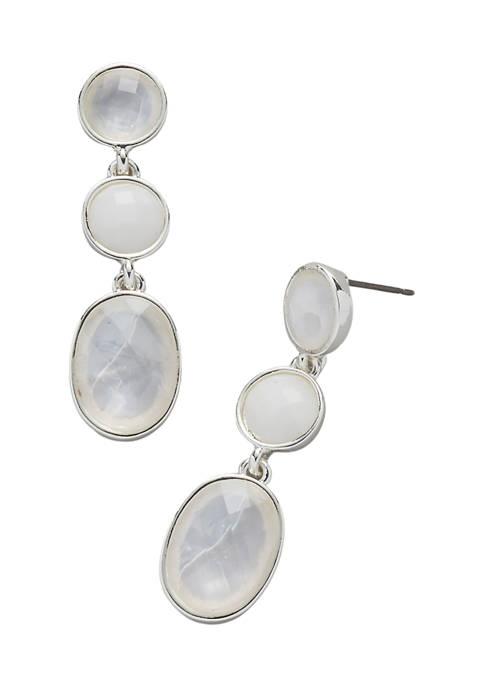 Kim Rogers® Silver Tone White Post Oval Stone