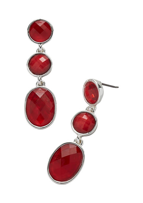 Kim Rogers® Silver Tone Red Post Oval Stone