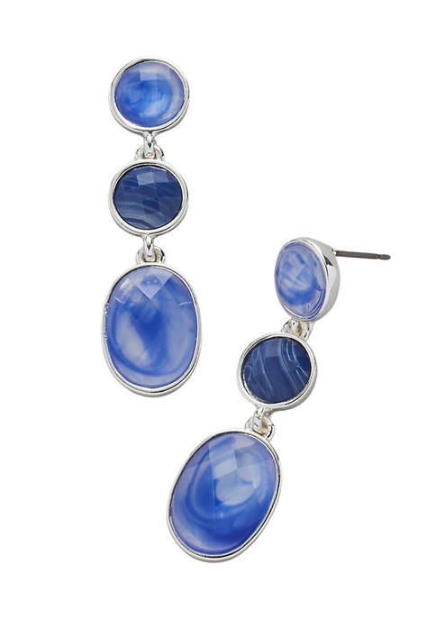 Kim Rogers® Silver Tone Blue Post Oval Stone