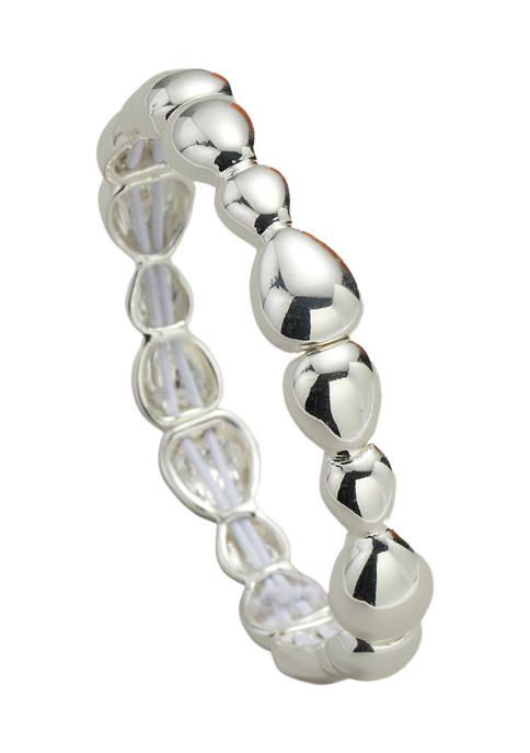 Kim Rogers® Silver Tone Metal Teardrop Stretch Bracelet