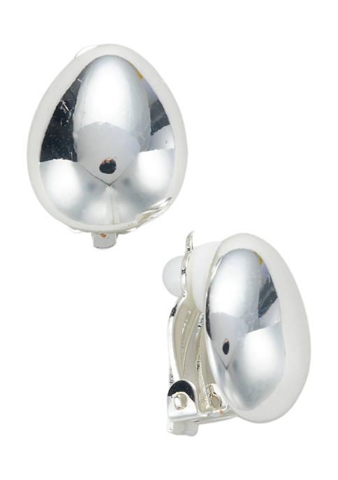 Kim Rogers® Silver Tone Metal Teardrop Button Clip
