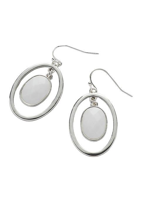 Kim Rogers® Silver Tone White Fishhook Oval Stone